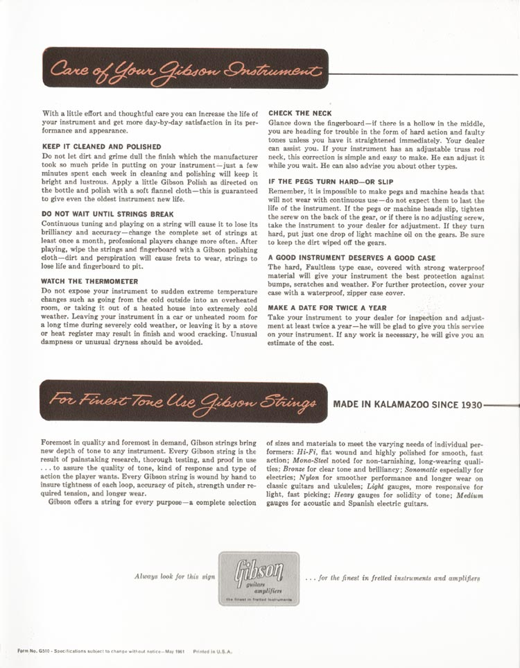 1962 Gibson guitar and bass catalogue - page 47