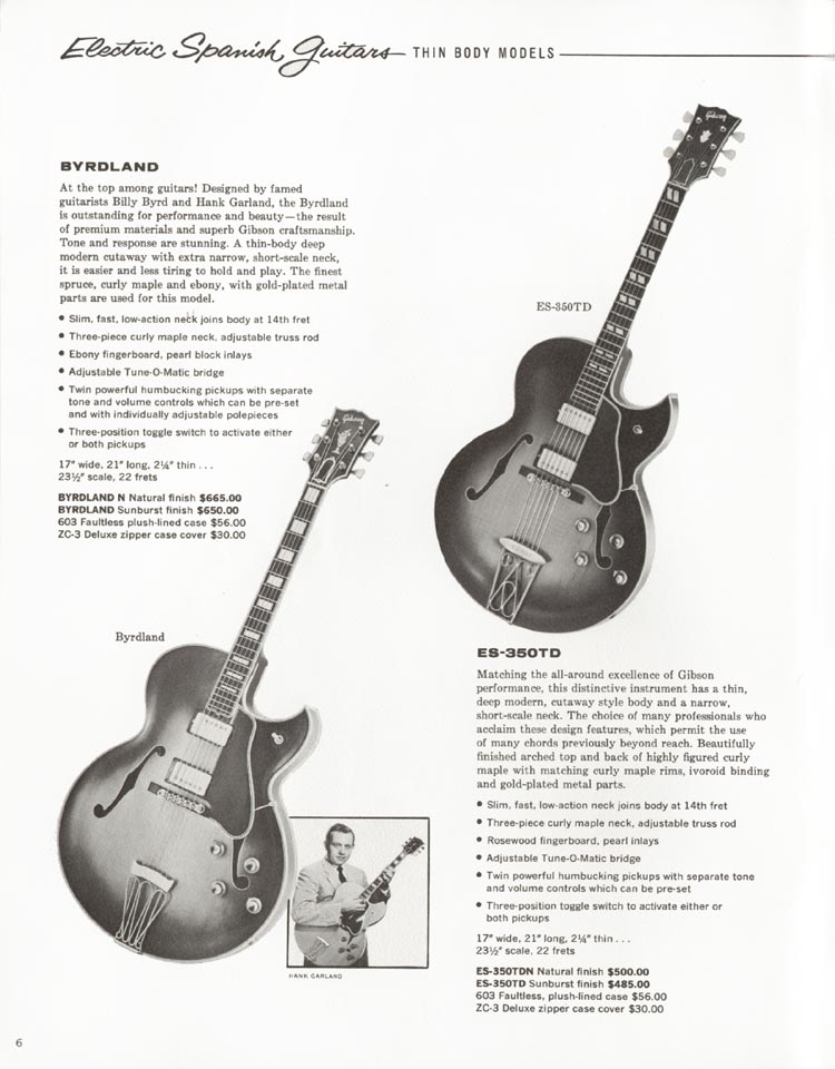 1962 Gibson guitar and bass catalogue - page 6, Gibson Byrdland and Gibson ES350TD
