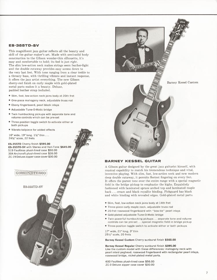 1962 Gibson guitar and bass catalogue - page 7 - Gibson ES-355TD-SV and Gibson Barney Kessel guitars