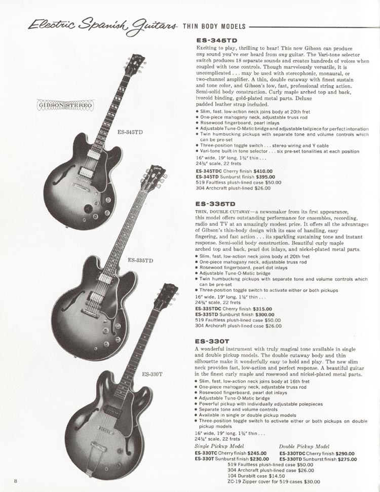 1962 Gibson guitar and bass catalogue - page 8 - Gibson ES345TD, Gibson ES335TD and Gibson ES330T