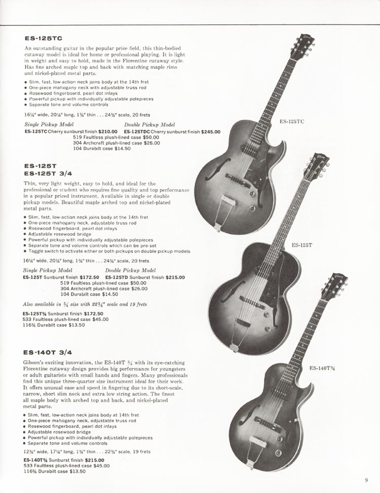 1962 Gibson guitar and bass catalogue - page 9 - Gibson ES-125TC, ES-125TDC, ES-125T and ES-125T 3/4 and ES-140T 3/4