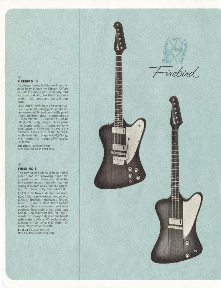 1964 Gibson Guitar and Bass catalogue page 10 - Firebird I and Firebird III