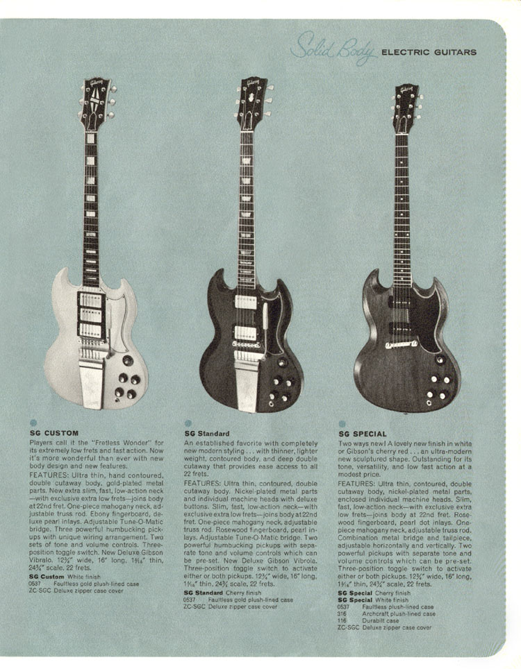1964 Gibson Guitar and Bass catalogue page 11 - Gibson SG Custom, Standard and Special
