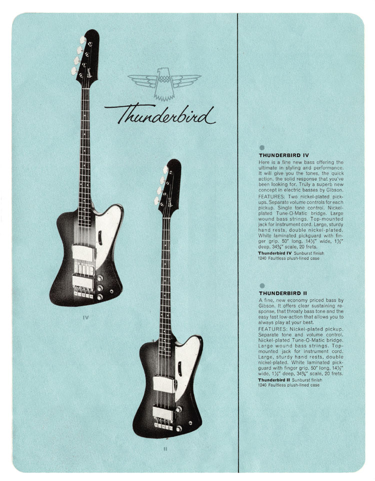 1964 Gibson Guitar and Bass catalogue page 13 - Thunderbird II and IV bass guitars<