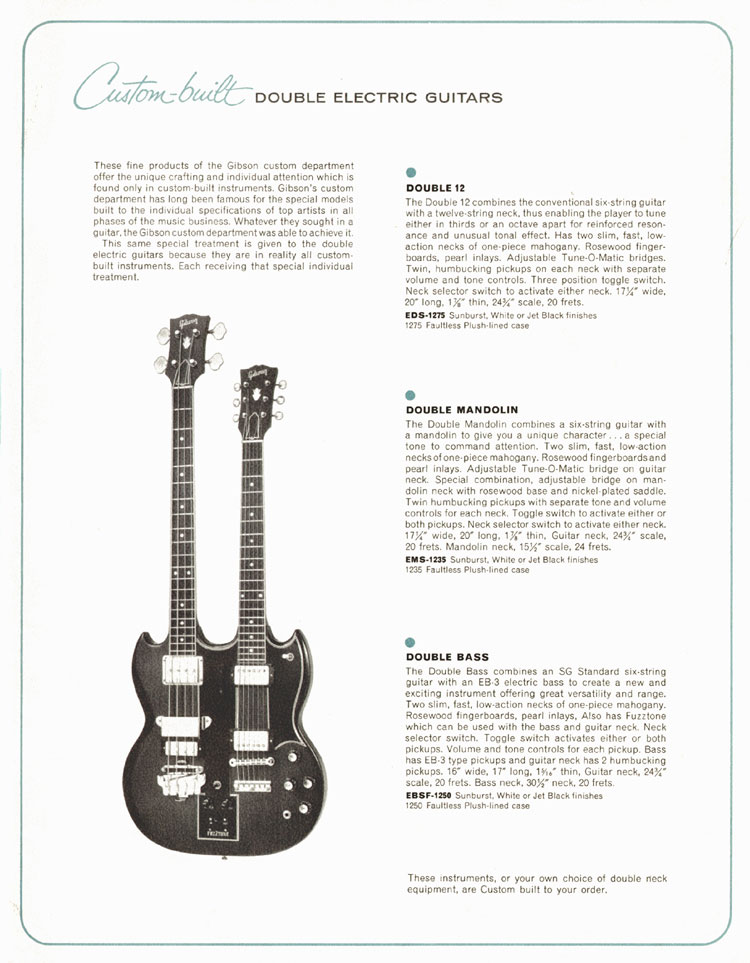 1964 Gibson Guitar and Bass catalogue page 15 - Double 12 (EDS-1275), Double Mandolin (EMS-1235) and Double Bass (EBSF-1250) doubleneck guitars