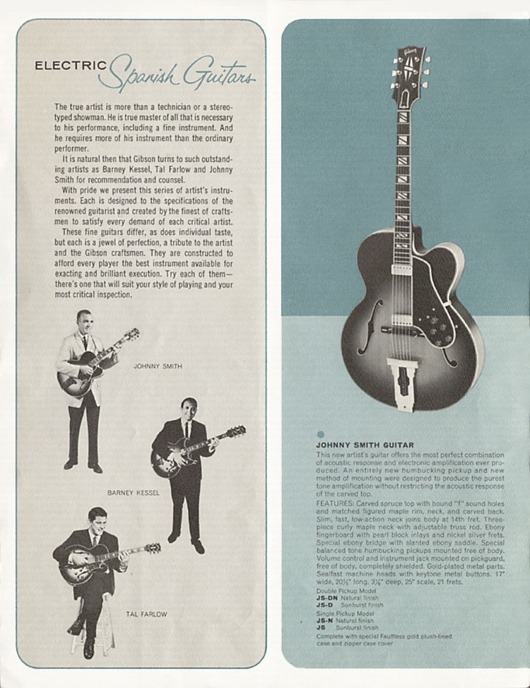 1964 Gibson Guitar and Bass catalogue page 2 - the Johnny Smith