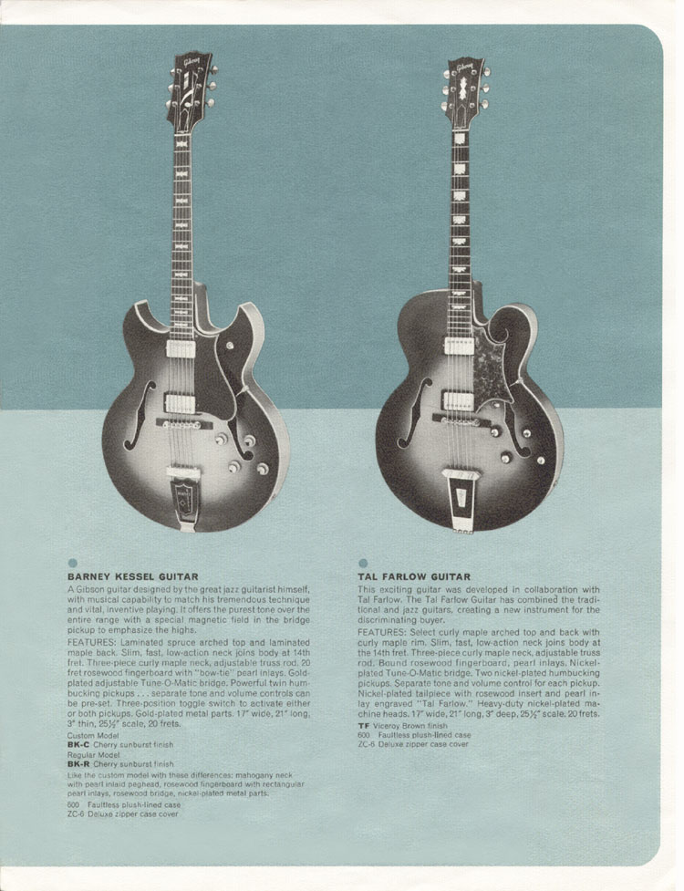 1964 Gibson Guitar and Bass catalogue page 3 - the Barney Kessel, and the Tal Farlow
