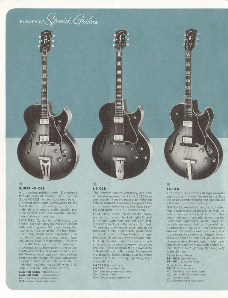 1964 Gibson Guitar and Bass catalogue page 4 - Super 400CES, L-5CES and ES-175D