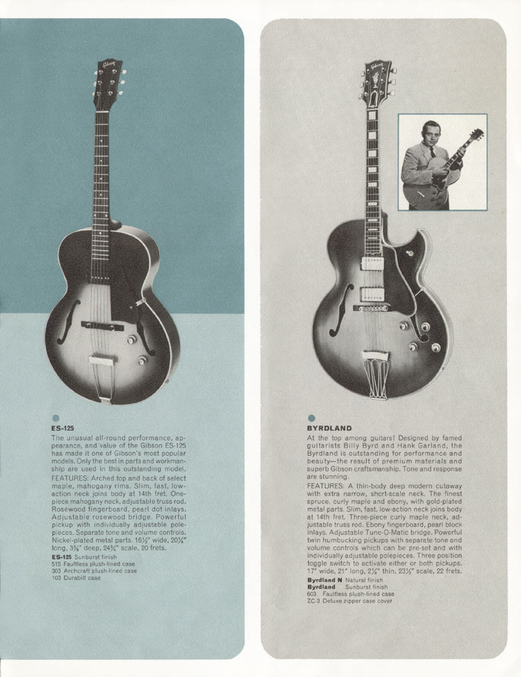 1964 Gibson Guitar and Bass catalogue page 5 - Gibson ES125 and Gibson Byrdland