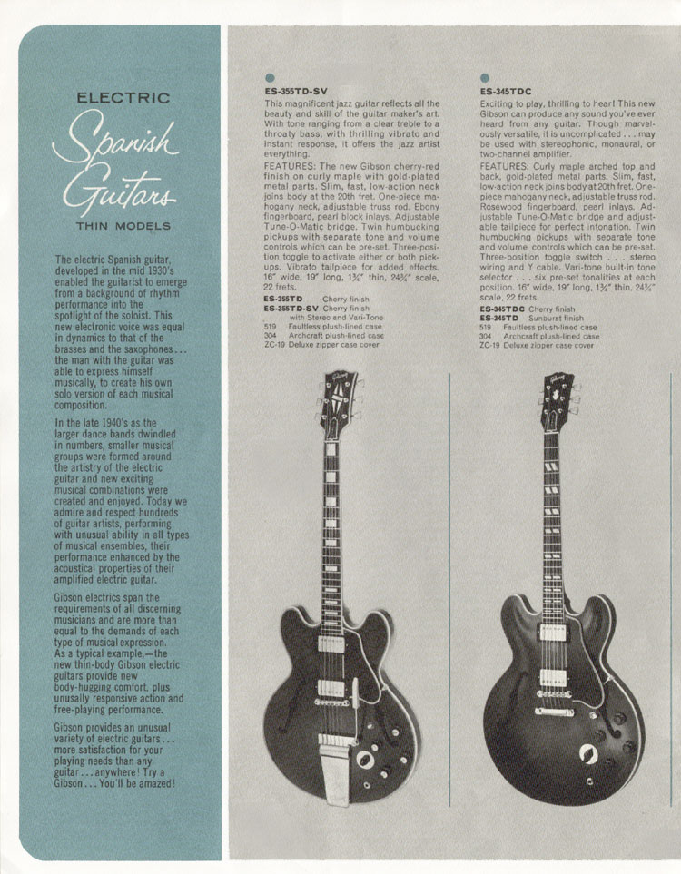 1964 Gibson Guitar and Bass catalogue page 6 - ES355TDSV and ES345TD