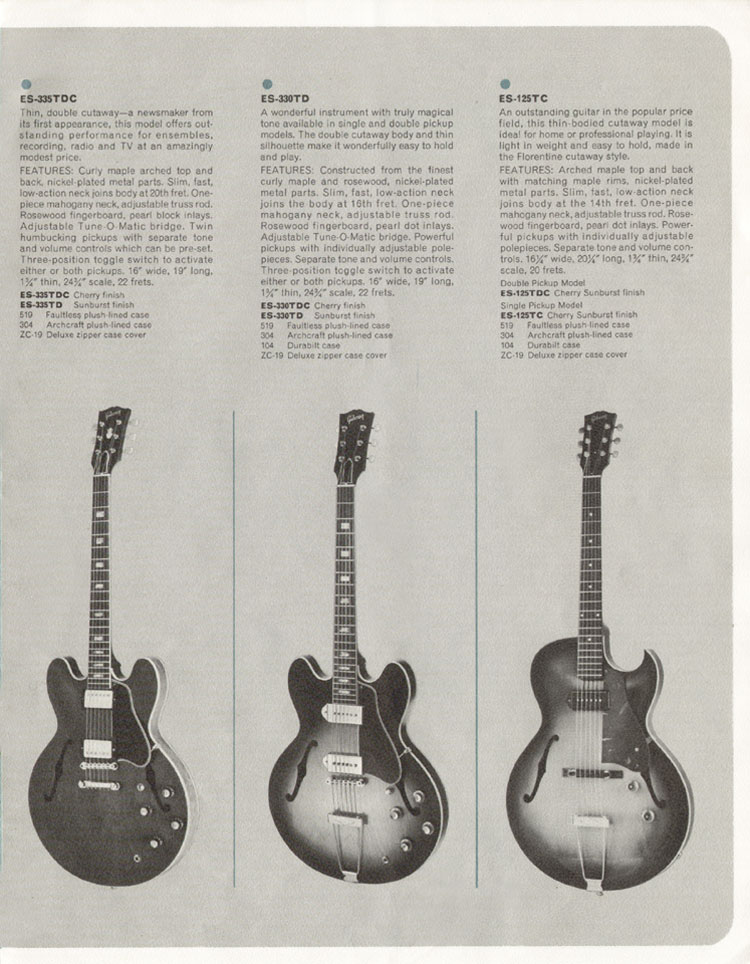 1964 Gibson Guitar and Bass catalogue page 7 - ES335TD, ES330TD, ES125TC and ES125TDC