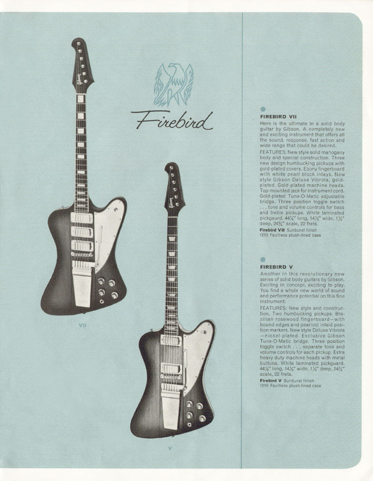 1964 Gibson Guitar and Bass catalogue page 9 - Gibson Firebird VII and Firebird V
