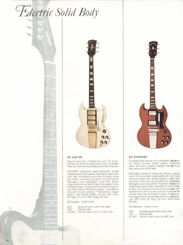 Gibson SG Custom and Gibson SG Standard - 1966 Gibson Full Line catalogue page 10
