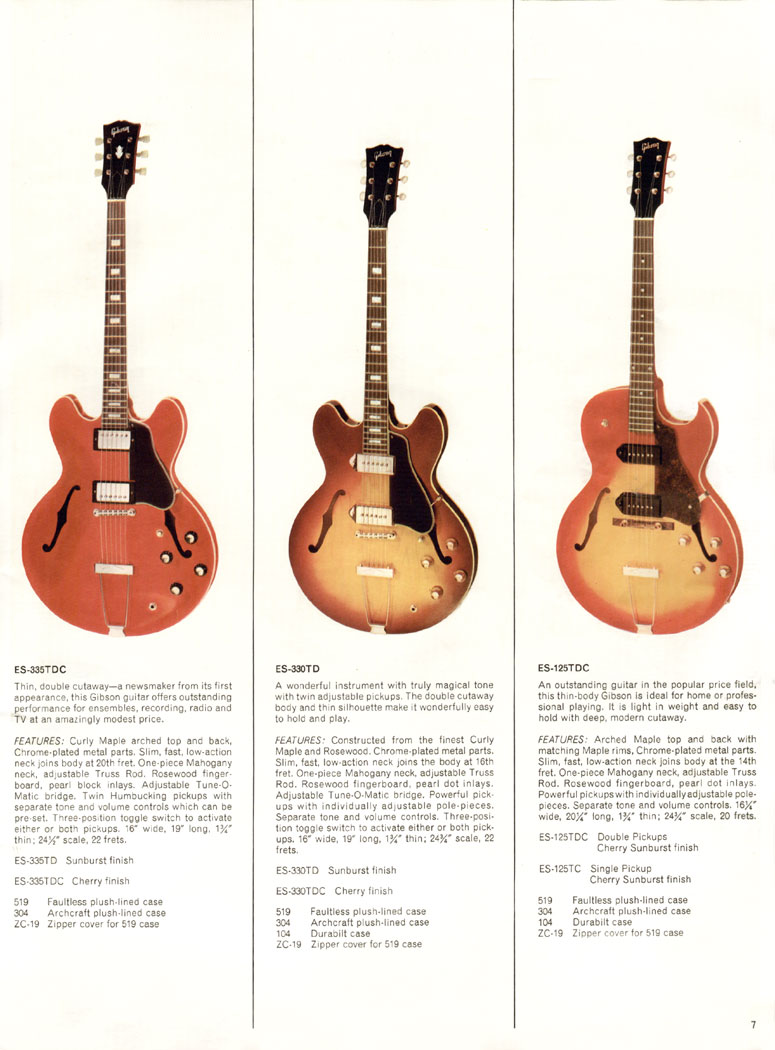 1966 Gibson Full Line Guitar Catalogue Page 7 - ES-335TD, ES-330TD and ES-125TDC
