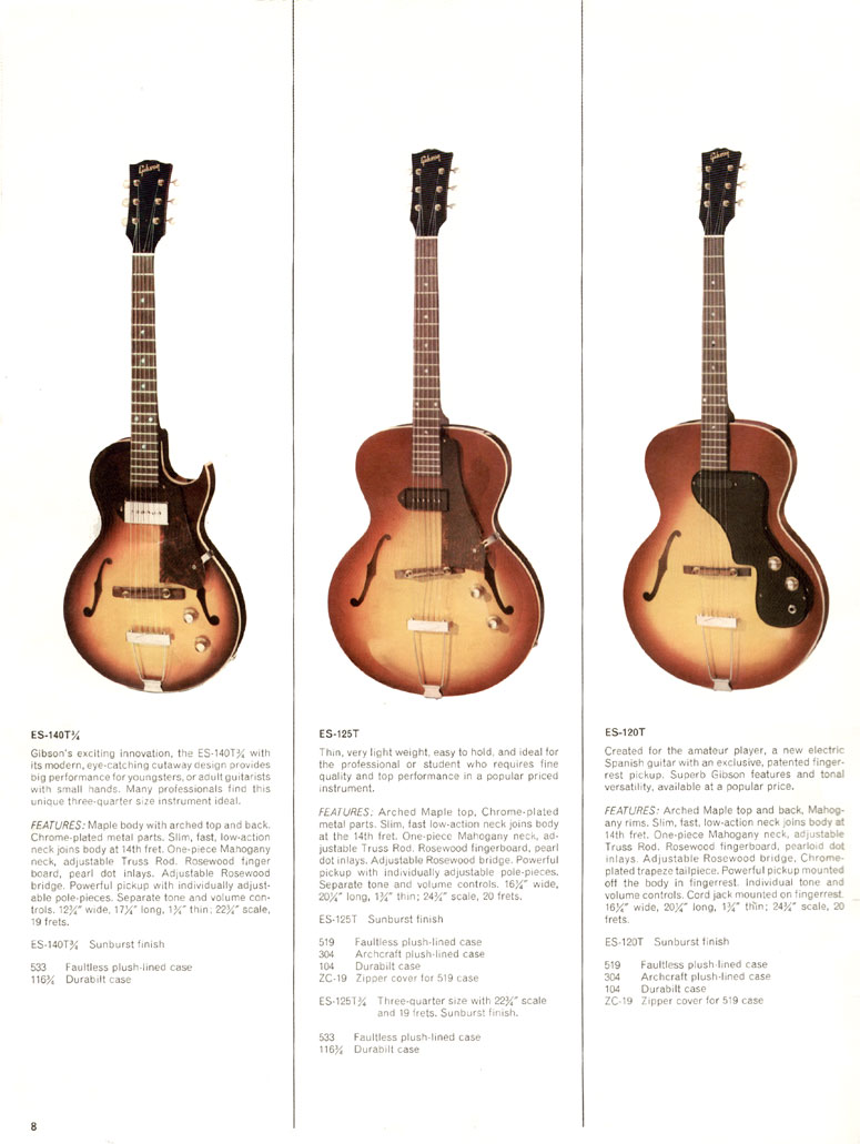 1966 Gibson Full Line catalogue page 8 - ES140T, ES125T and ES120T