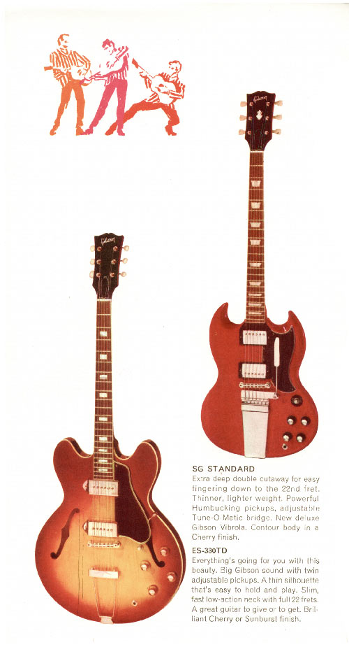 1968 Gibson guitar pamphlet page 2. SG Standard and ES-330TD