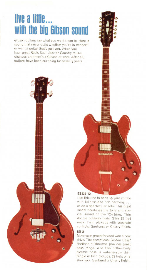 1968 Gibson guitar pamphlet page 3 - Gibson ES-335-12 and EB-2 bass
