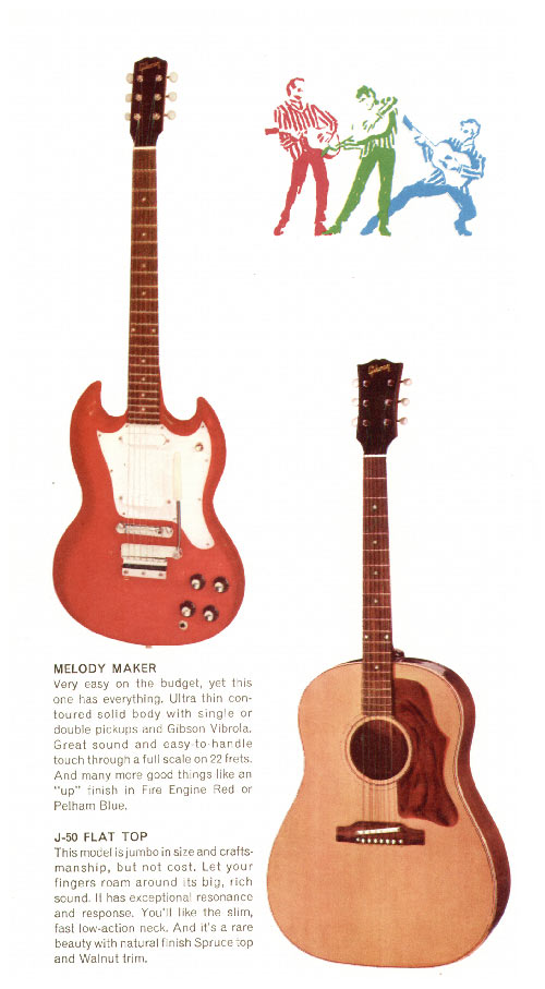 1968 Gibson guitar pamphlet page 6 - Gibson Melody Maker and J-50 acoustic