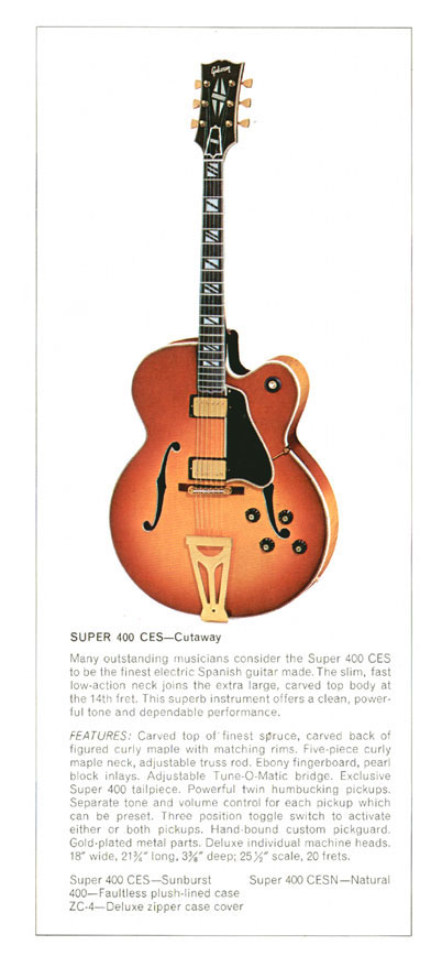 Super 400-CES - 1970 Gibson Electric Acoustics catalogue Page 7 - Super 400 CES