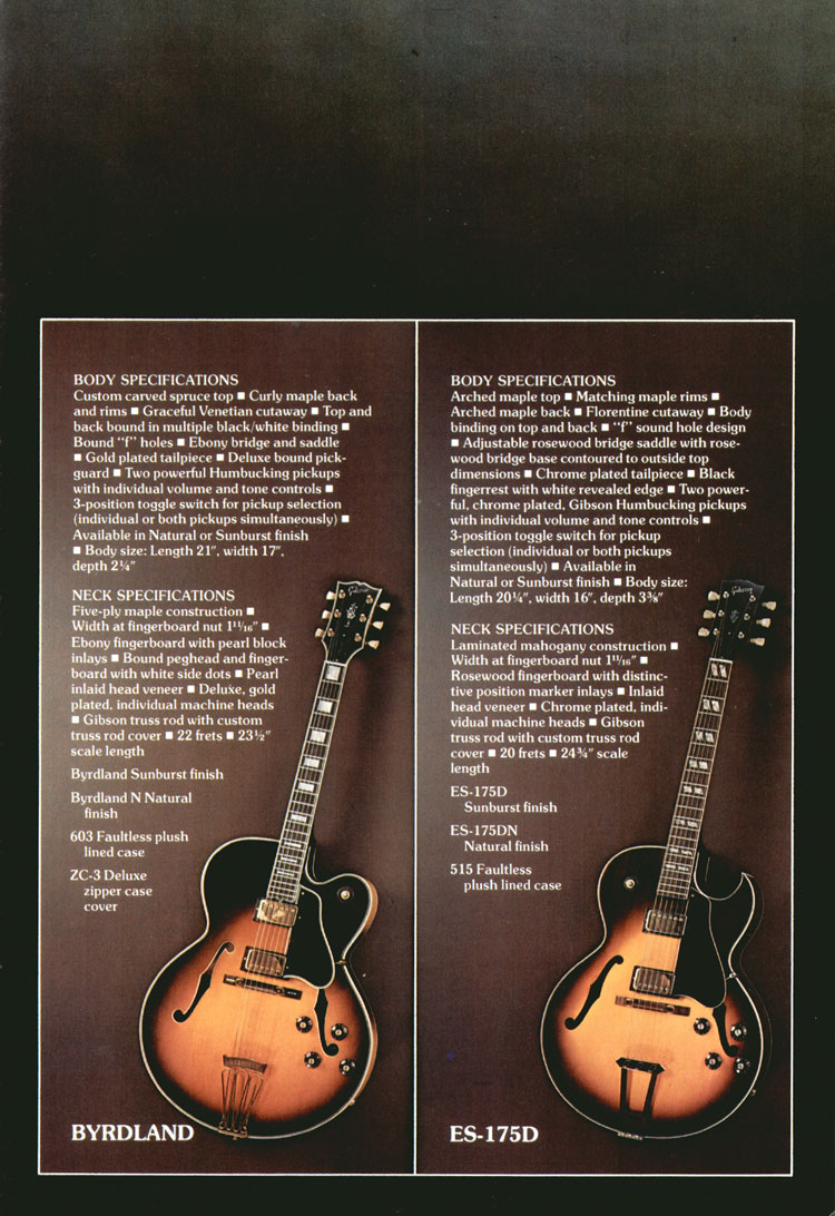 Gibson Byrdland and ES-175D - 1975 Gibson Electric Acoustics catalogue Page 11