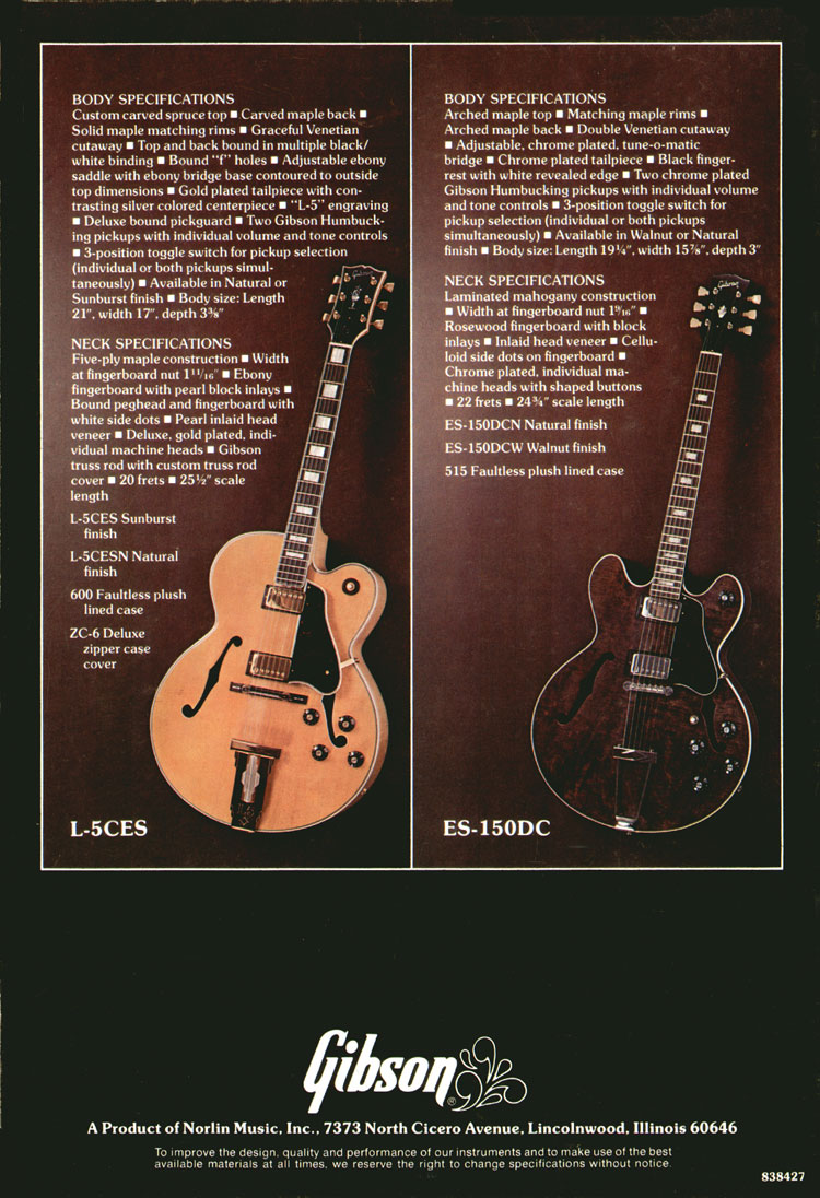 Gibson L-5CES and ES-150DC - 1975 Gibson Electric Acoustics catalogue - Back Cover