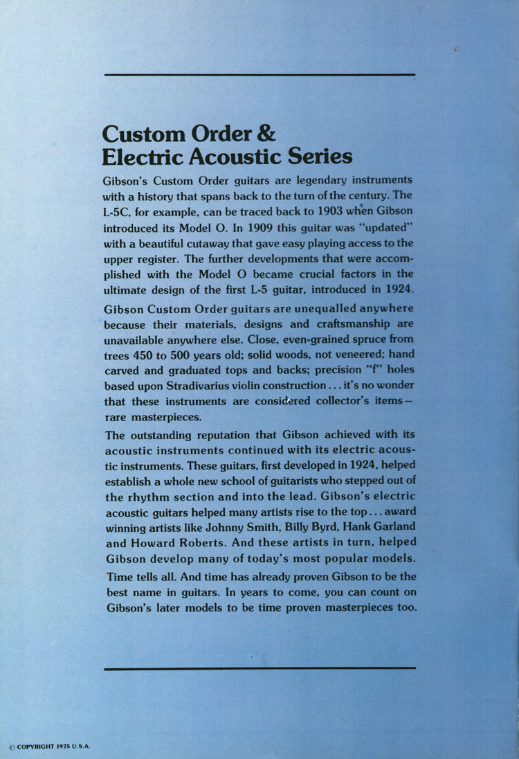 Gibson Citation - 1975 Gibson Electric Acoustics catalogue Page 2