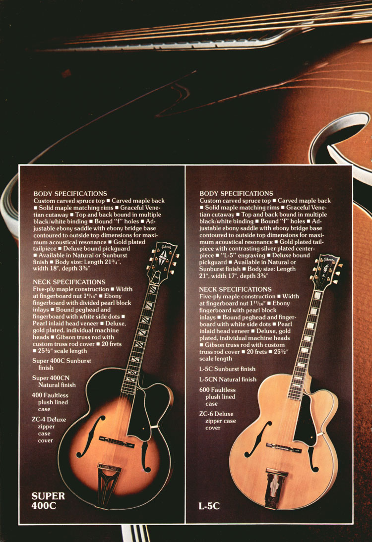 L-5C and Super 400C - 1975 Gibson Electric Acoustics catalogue Page 6