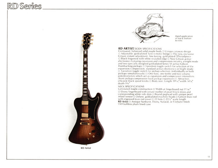 1978 Gibson Quality / Prestige / Innovation catalogue page 13 - RD Artist