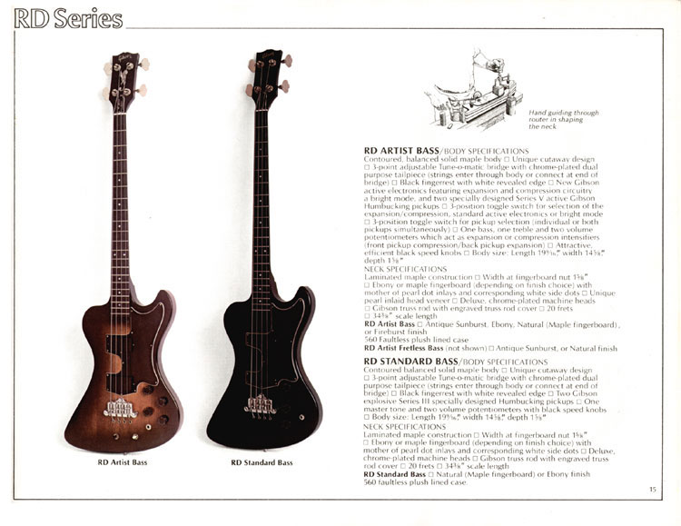 1978 Gibson Quality / Prestige / Innovation catalogue page 15 - RD Artist and RD Standard bass guitars