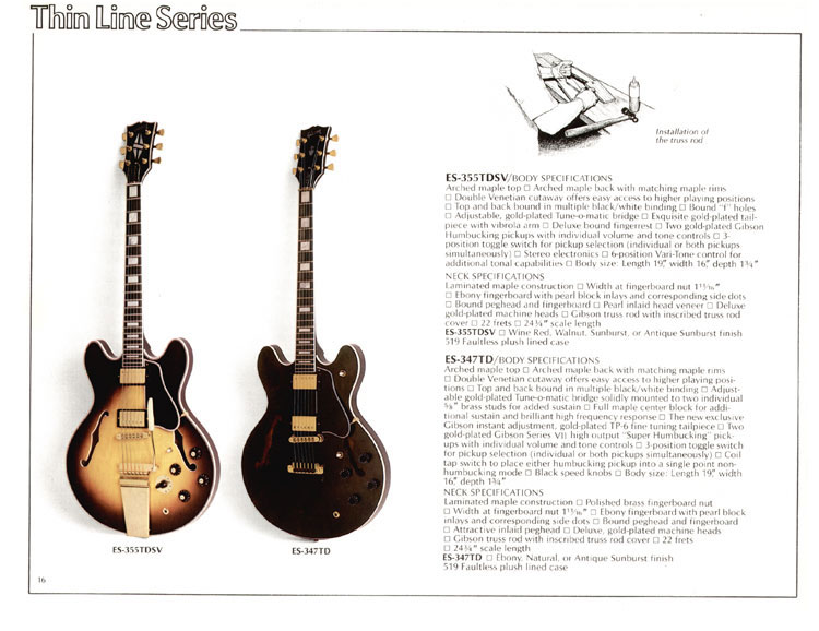 1978 Gibson Quality / Prestige / Innovation catalogue page 16 - ES-355TDSV and ES-347TD