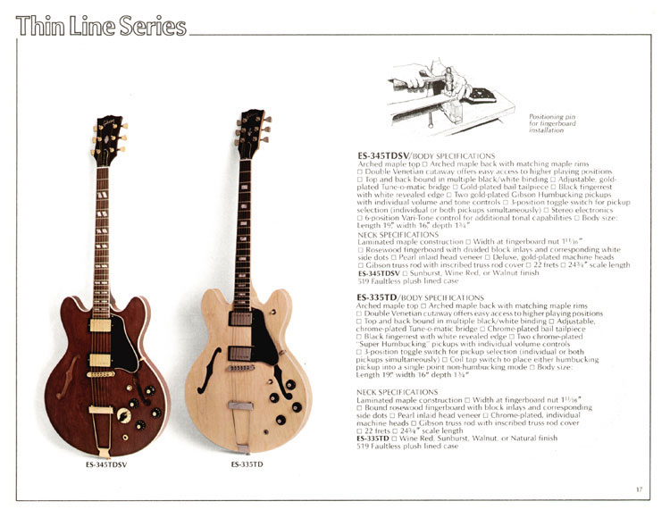 1978 Gibson Quality / Prestige / Innovation catalogue page 17 - ES-345TDSV and ES-335TD