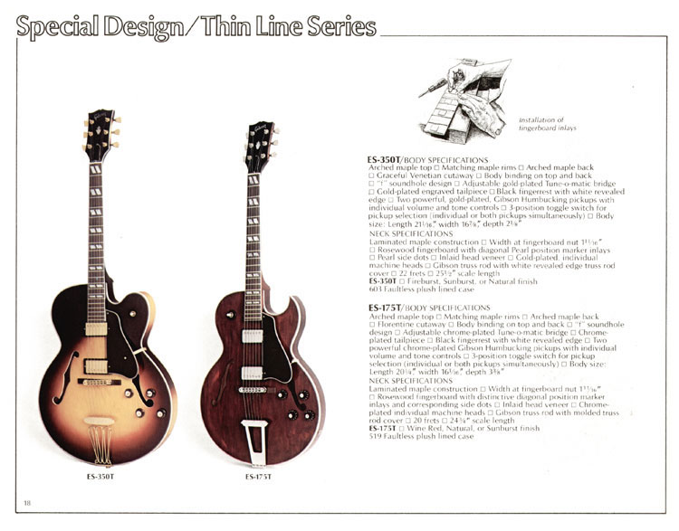 1978 Gibson Quality / Prestige / Innovation catalogue page 18  -  ES-350T and ES-175T