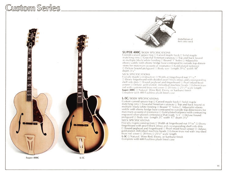 1978 Gibson Quality / Prestige / Innovation catalogue page 19 - Super 400C and L-5C