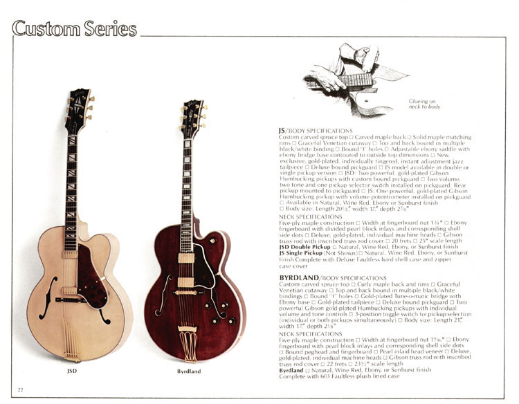1978 Gibson Quality / Prestige / Innovation catalogue page 22 - JS and Byrdland