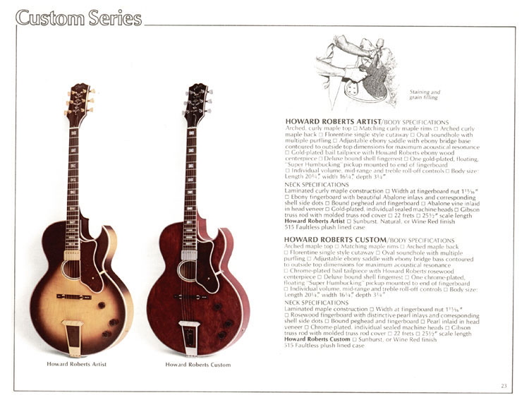 1978 Gibson Quality / Prestige / Innovation catalogue page 23 - Howard Roberts Artist and Howard Roberts Custom