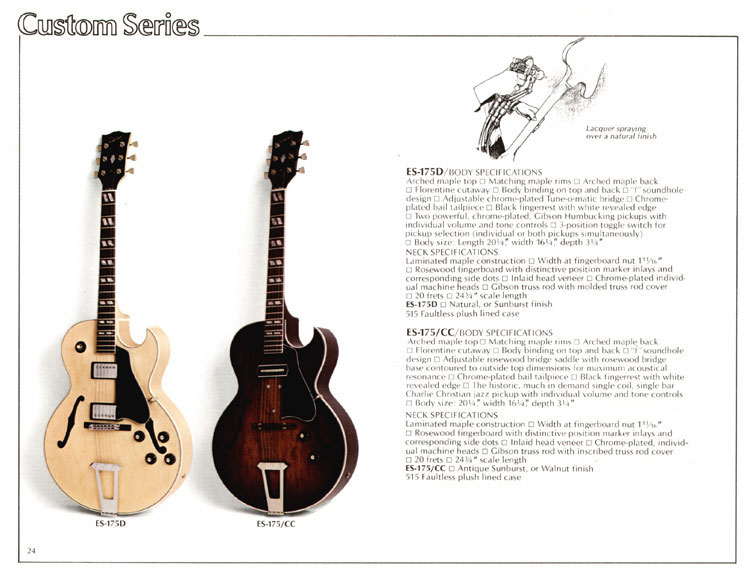 1978 Gibson Quality / Prestige / Innovation catalogue page 24 - ES-175D and ES-175/CC