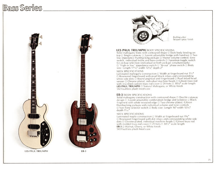 1978 Gibson Quality / Prestige / Innovation catalogue page 25 - Les Paul triumph and EB3
