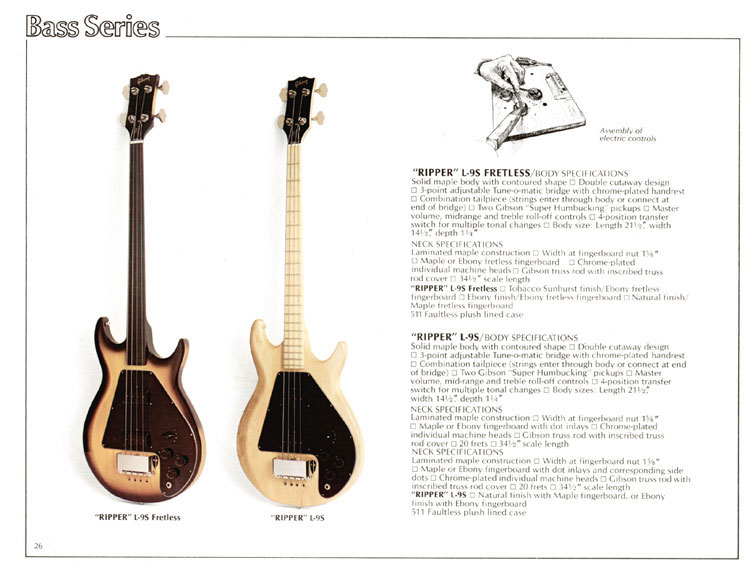 1978 Gibson Quality / Prestige / Innovation catalogue page 26 - Ripper L9-S and Ripper Fretless