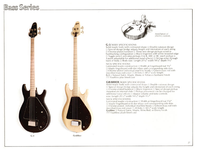 1978 Gibson Quality / Prestige / Innovation catalogue page 27 - G3 and Grabber