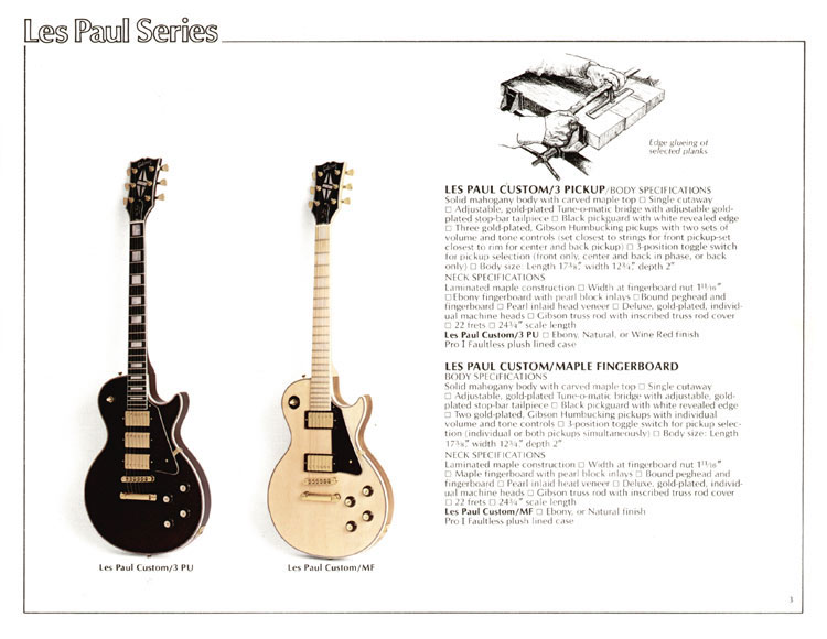 1978 Gibson Quality / Prestige / Innovation catalogue page 3 - The Les Paul Custom