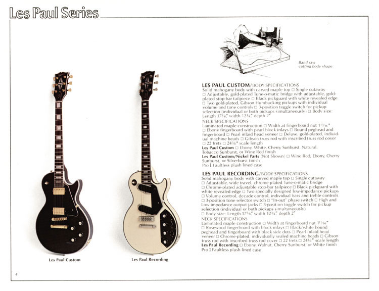 1978 Gibson Quality / Prestige / Innovation catalogue page 4  - The Les Paul Custom and Les Paul Recording