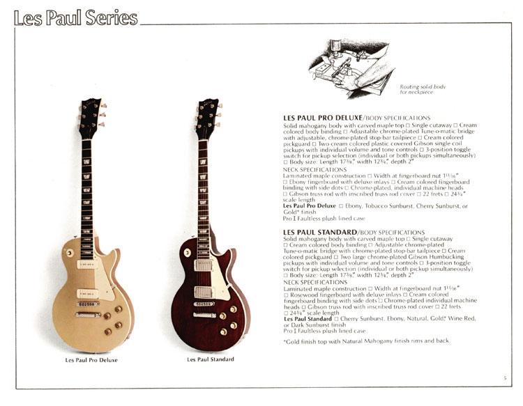 1978 Gibson Quality / Prestige / Innovation catalogue page 5 - Les Paul Pro Deluxe and Les Paul Standard