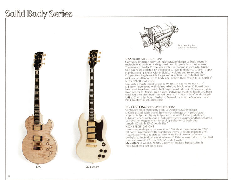 1978 Gibson Quality / Prestige / Innovation catalogue page 8 - L-5S and SG Custom