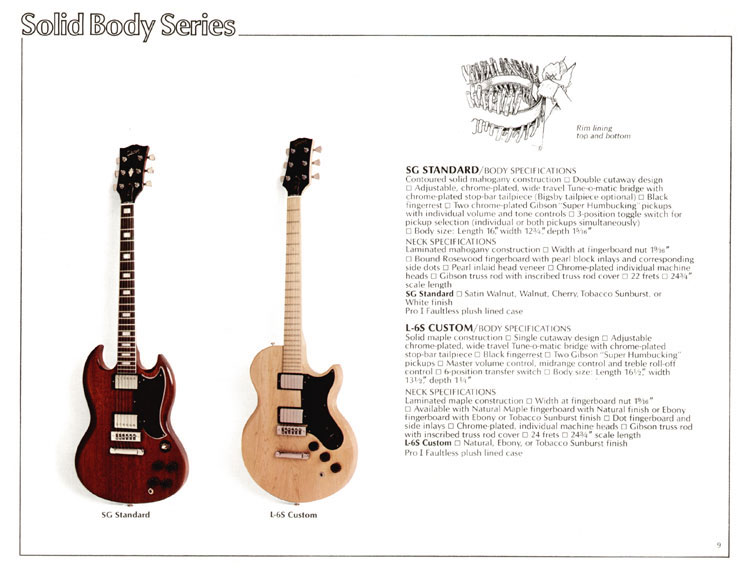 1978 Gibson Quality / Prestige / Innovation catalogue page 9 - SG Standard and L-6S Custom