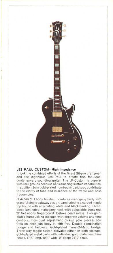 1970 Gibson Les Paul catalogue page 3 - Les Paul Custom