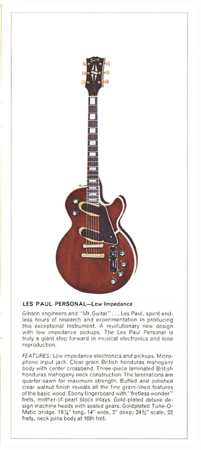 1970 Gibson Les Paul catalogue page 5, Les Paul Personal