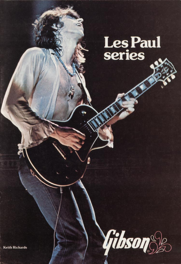 1975 Gibson Les Paul catalogue front cover - Keith Richards of the Rolling Stones playing a Les Paul Custom