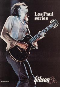 Keith Richards on the cover of the 1975 Gibson Les Paul catalogue with his ebony-finished Les Paul Custom