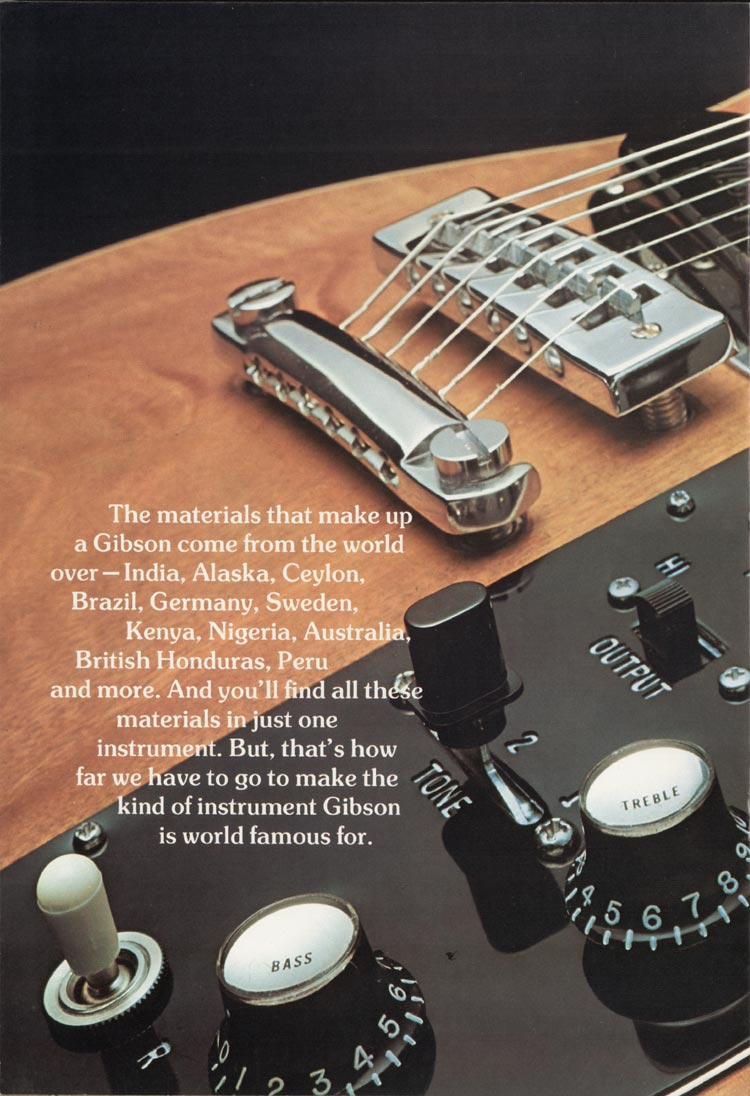 1975 Gibson Les Paul catalogue page 6 Les Paul Recording guitar and Triumph bass