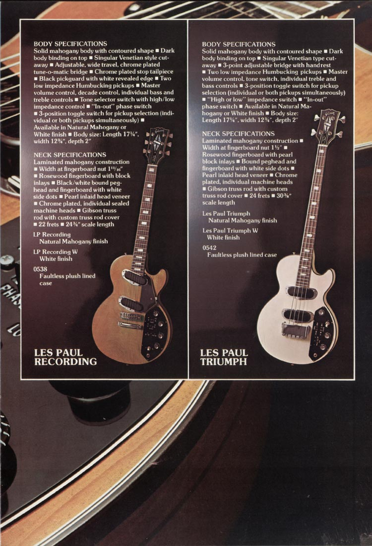 1975 Gibson Les Paul catalogue page 7 Les Paul Recording guitar and Triumph bass